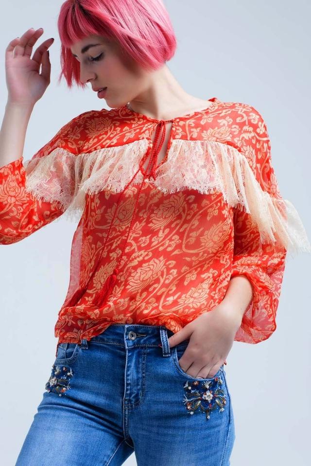 Camisa coral de gasa transparente con encaje