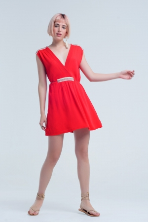 Vestido rojo mini con detalles bordados