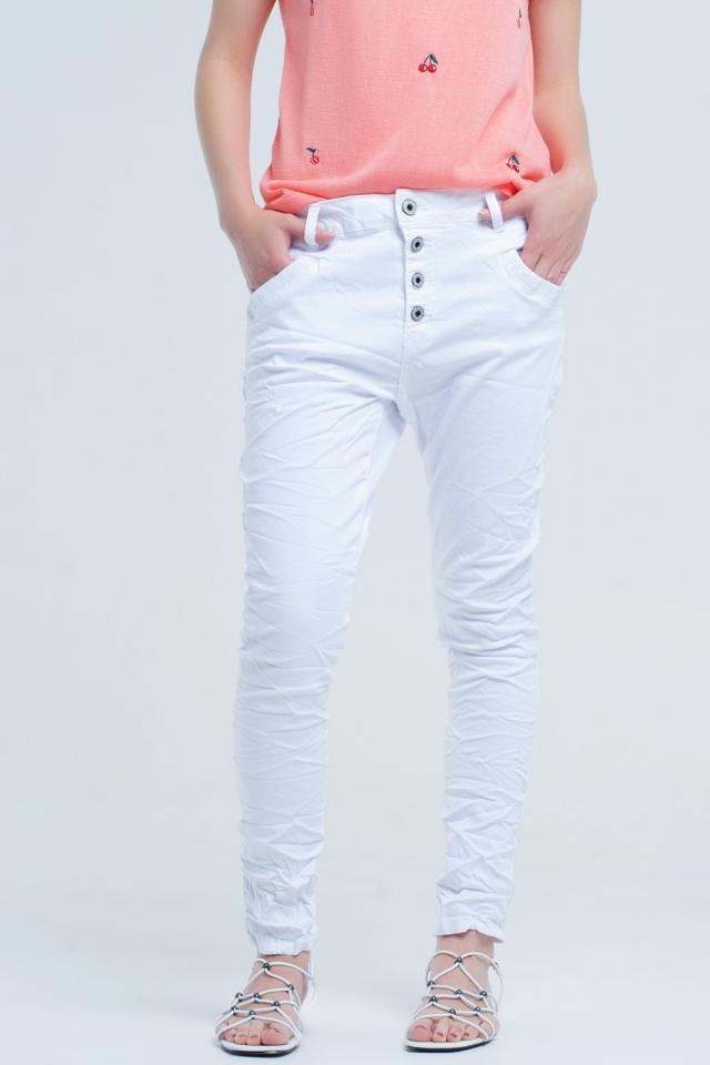 Pantalon vaquero blanco Boyfriend con arrugas