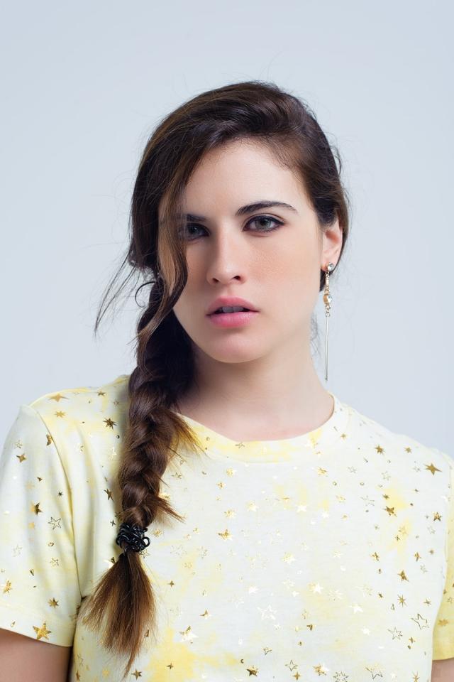 Camiseta efecto descolorido con estrellas doradas