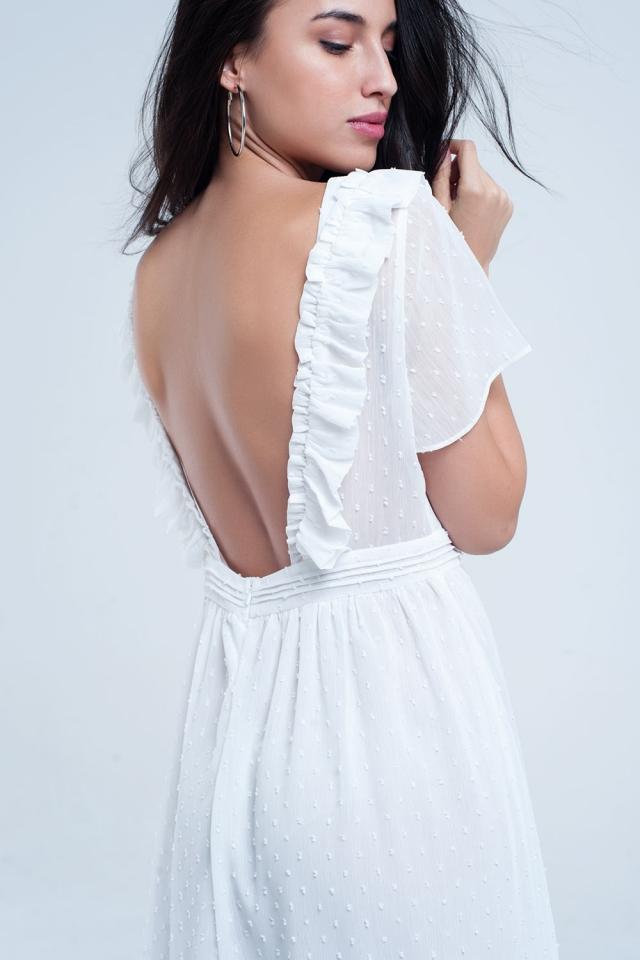Vestido blanco midi con topos bordados