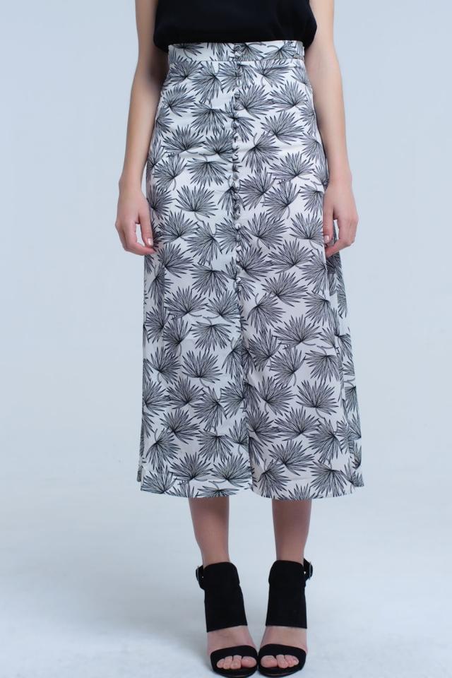 Falda midi blanca con diseño de hojas y botones