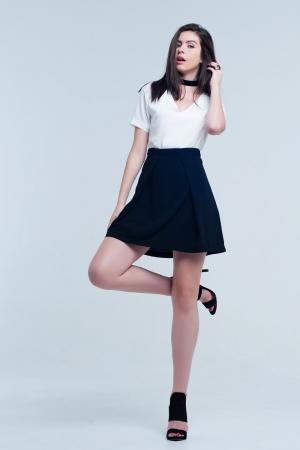 Mini vestido blanco y negro