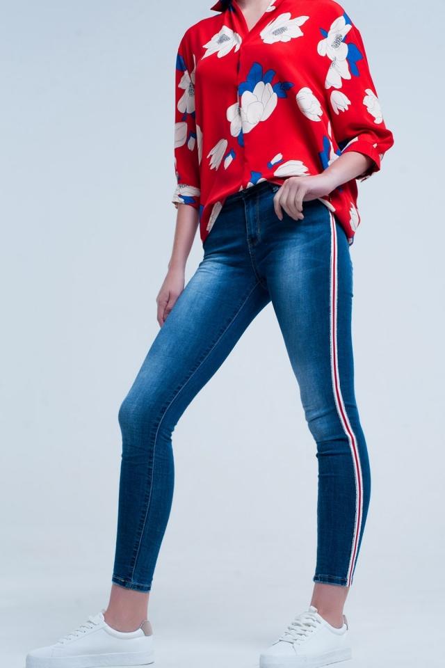 Pantalon vaquero ajustado con bandas laterales