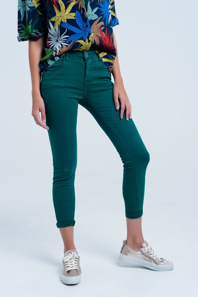 Skinny jeans elastico verde