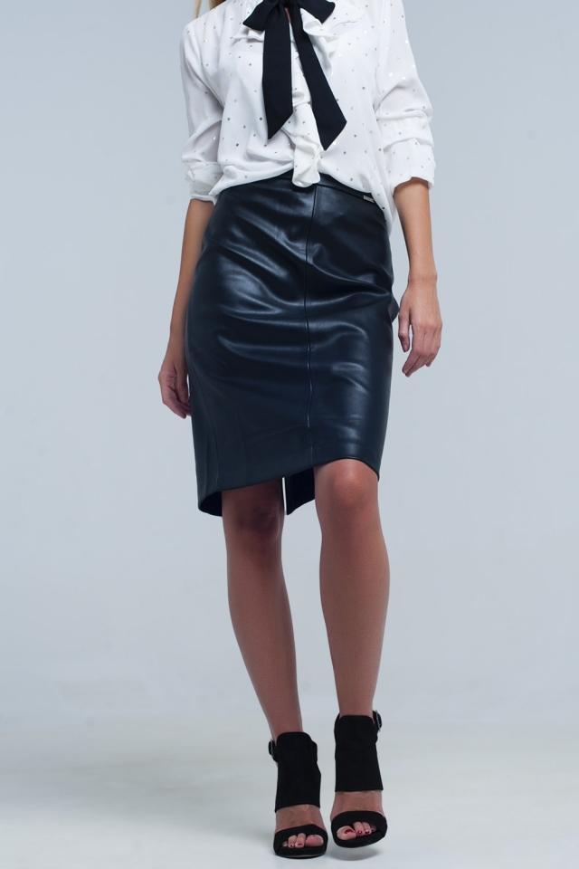 Falda midi recta negra polipiel