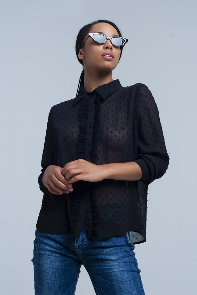 Camisa negra transparente con lunares bordados