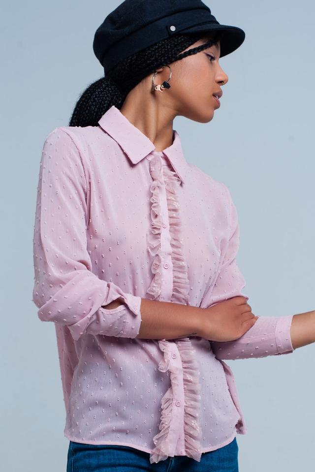 Blusa de Gasa rosa con volantes