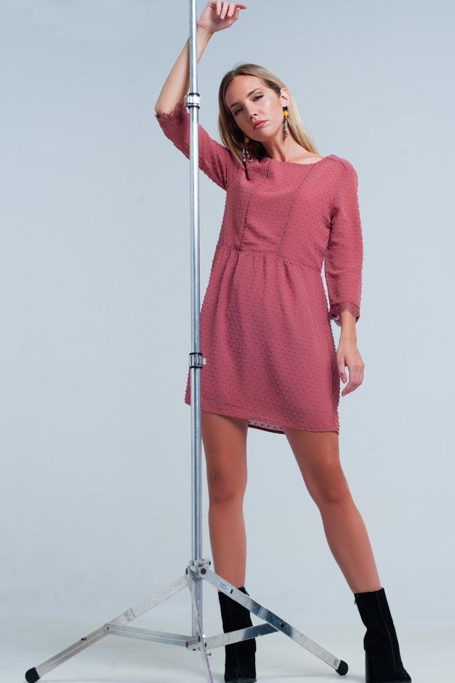 Vestido color vino Gasa con espalda abierta