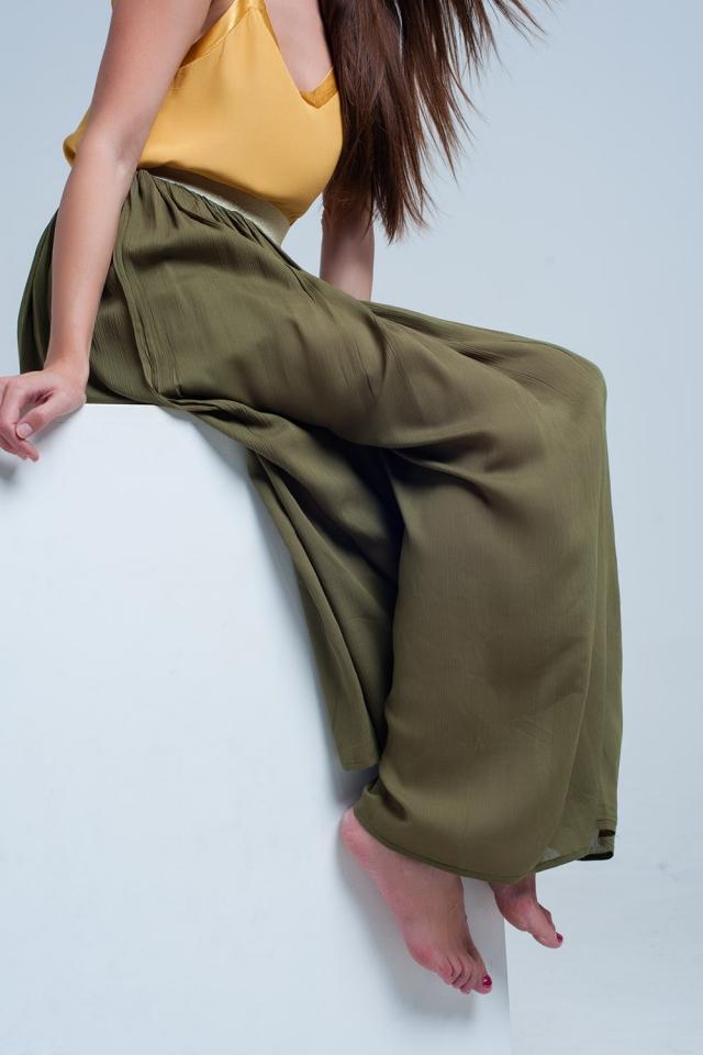 Falda larga verde con cintura elastica