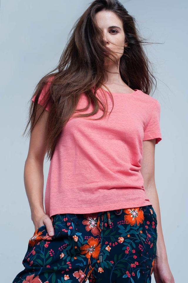 Camiseta coral con detalles crochet en la espalda