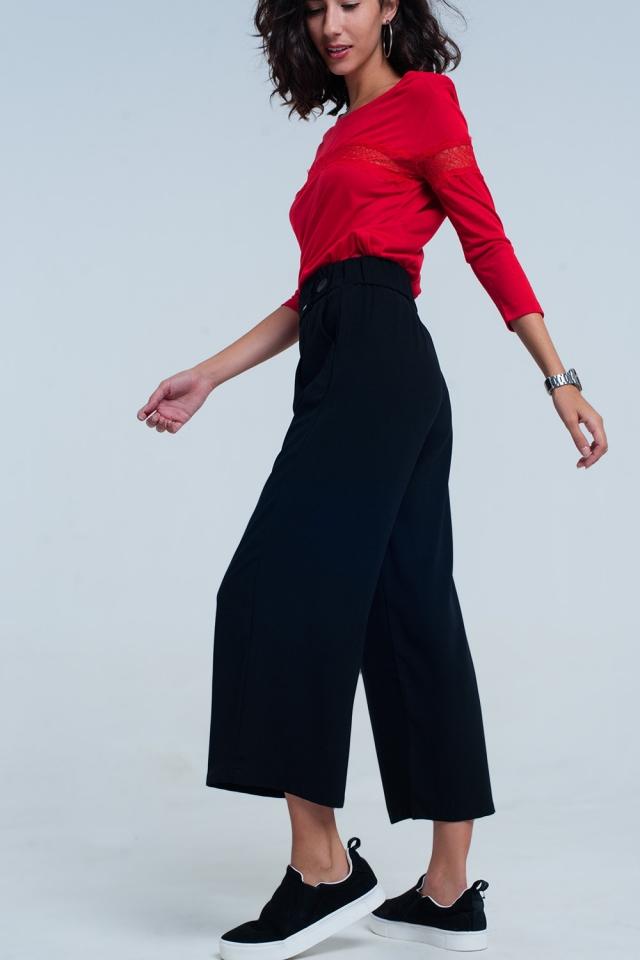 Culottes negro de pierna ancha con detalle cintura