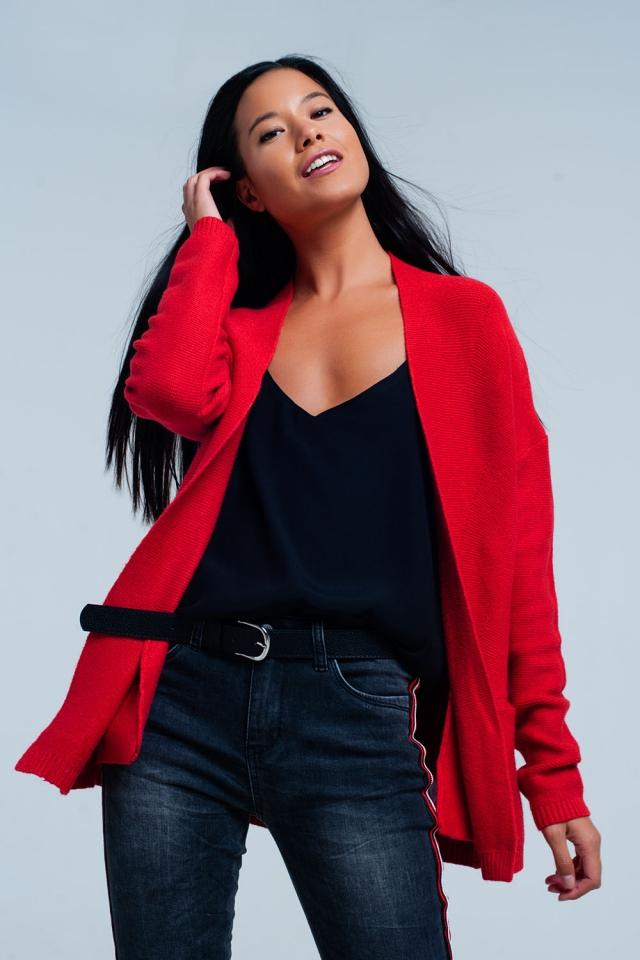 Chaqueta de punto roja con bolsillos