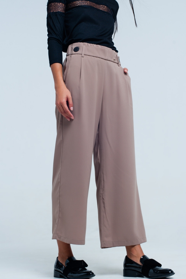 Culottes en beige de pierna ancha con detalle cintura