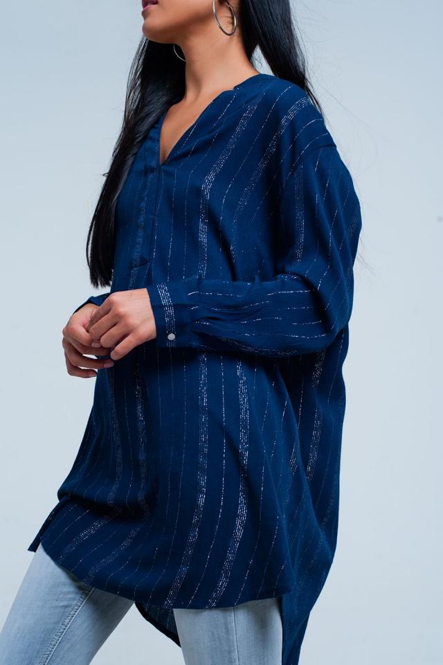 Camisa azul con palangre con rayas pura metálicos