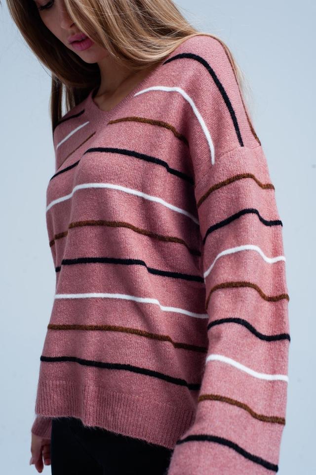 Jersey Rosa a rayas con cuello de pico