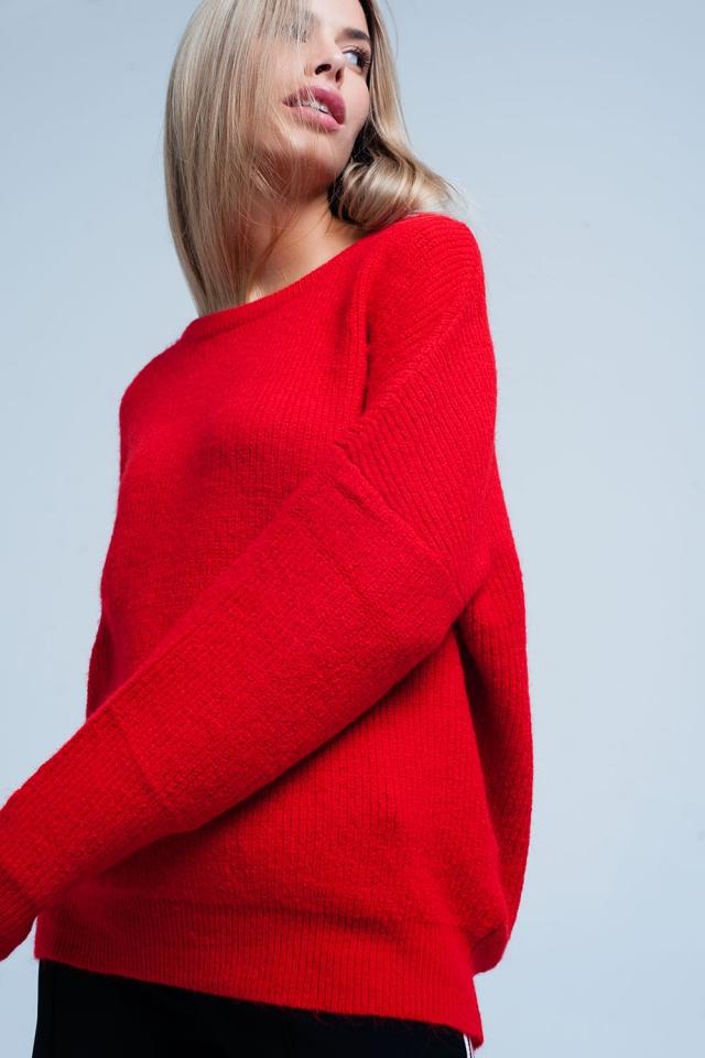 Sueter Rojo con cuello barco