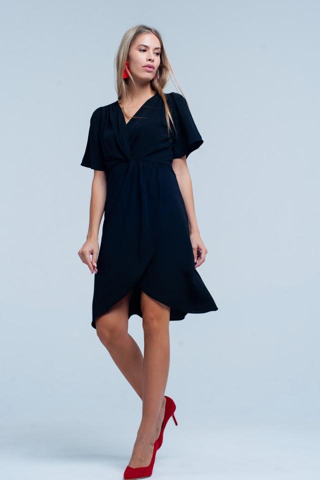 Vestido midi cruzado Negro