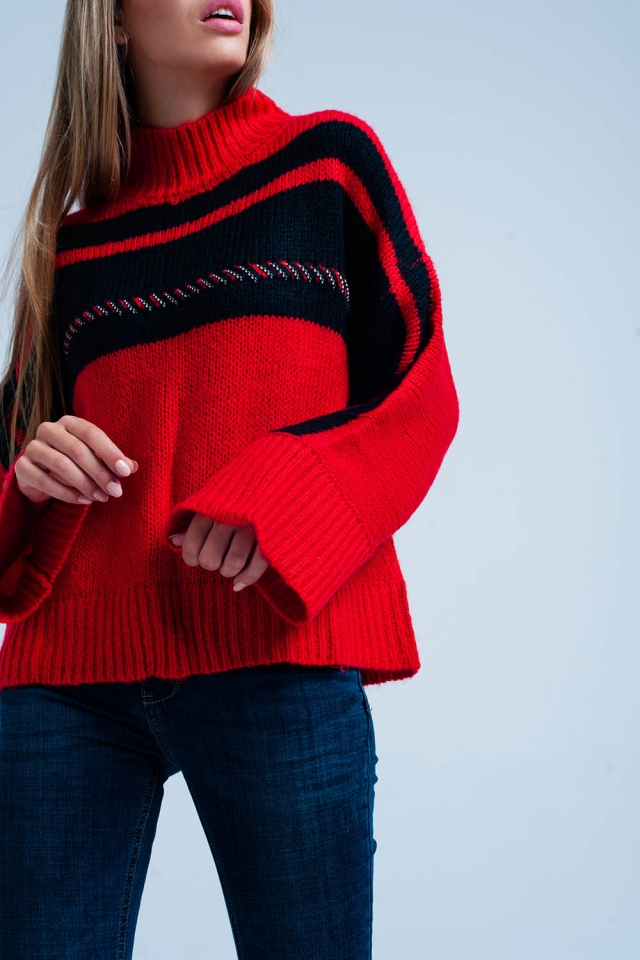 Jersey extragrande en rojo a rayas