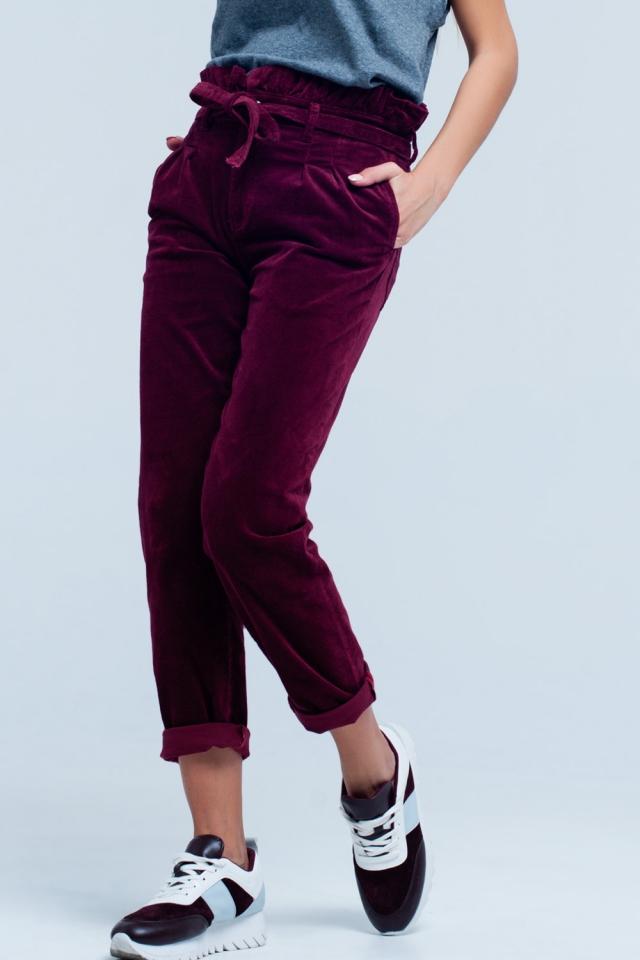 Pantalon paperbag Granate de cintura alta con cinturon