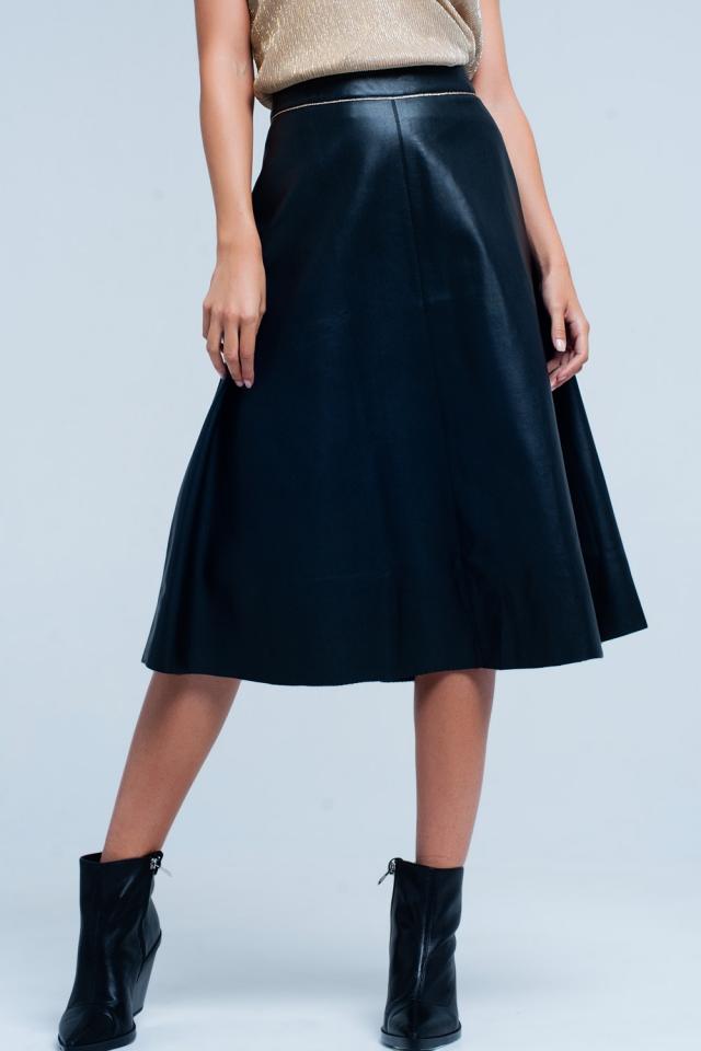 Falda midi recta Negra polipiel y detalle de oro