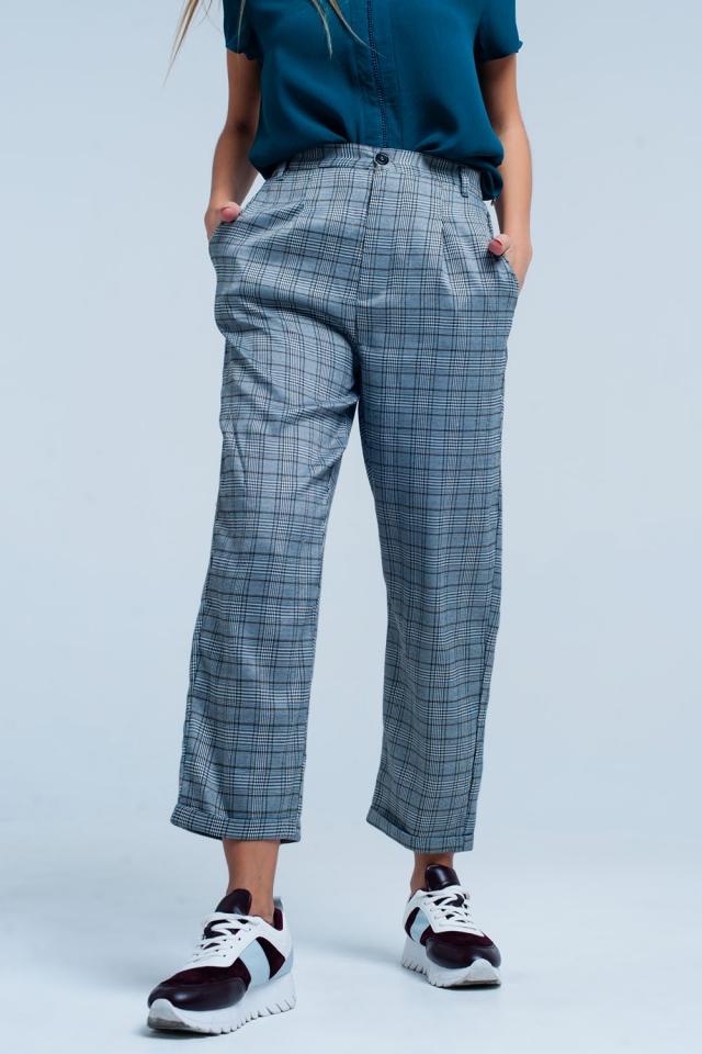 Pantalones a cuadros de gran tamaño Gris