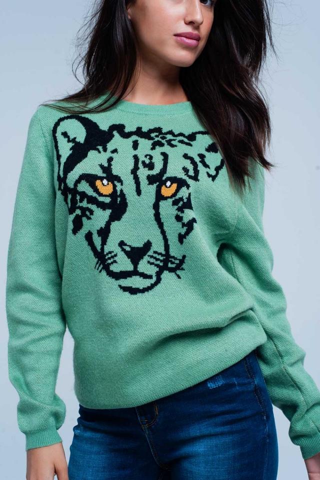 Suéter verde claro con Leopard