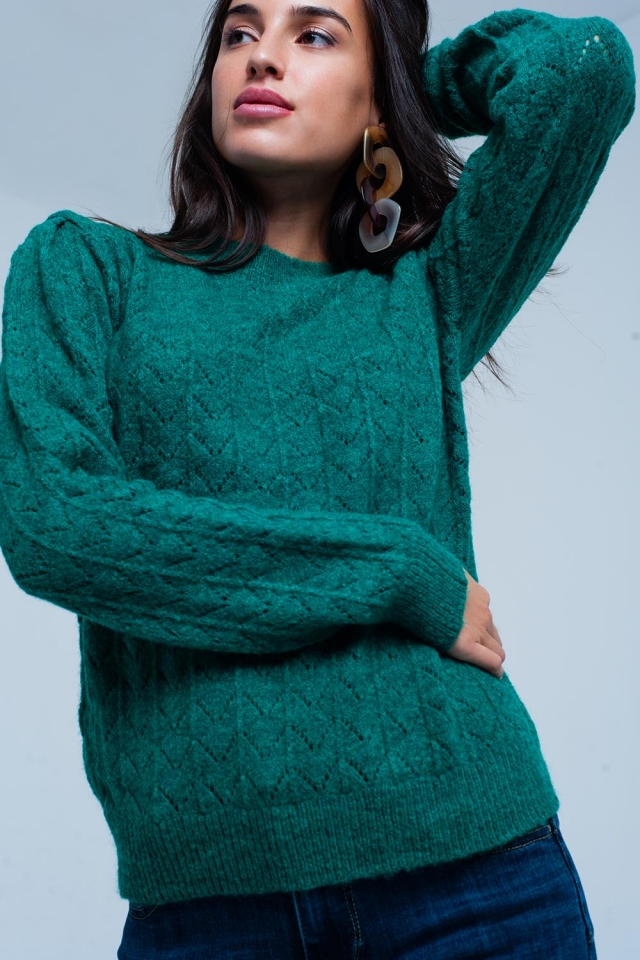Jersey Verde con cuello redondo en punto con textura