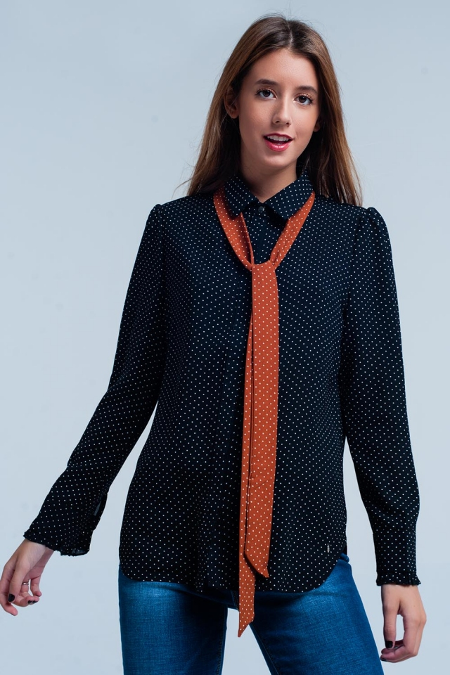 Camisa Negro lunares con lazo naranja