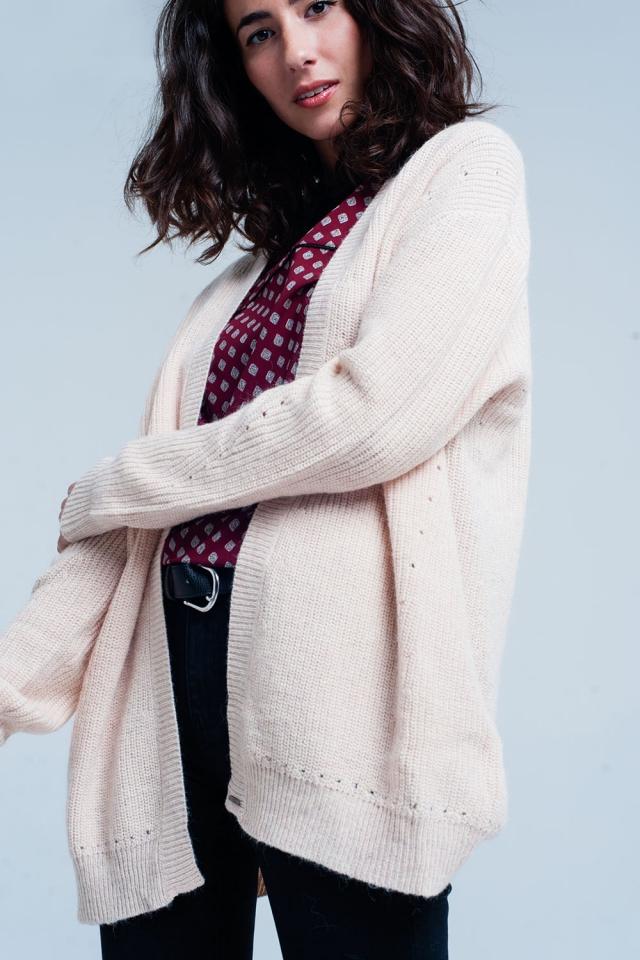 Chaqueta de color rosa de punto de angora de manga larga