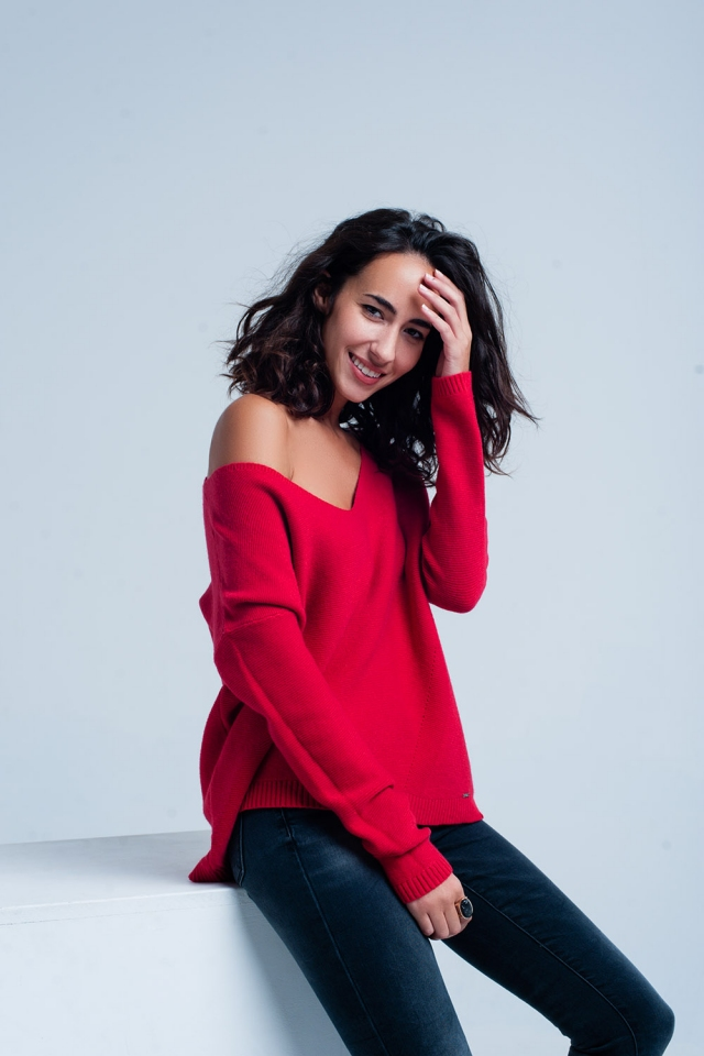 Red Rough Knit V-neck Sweater
