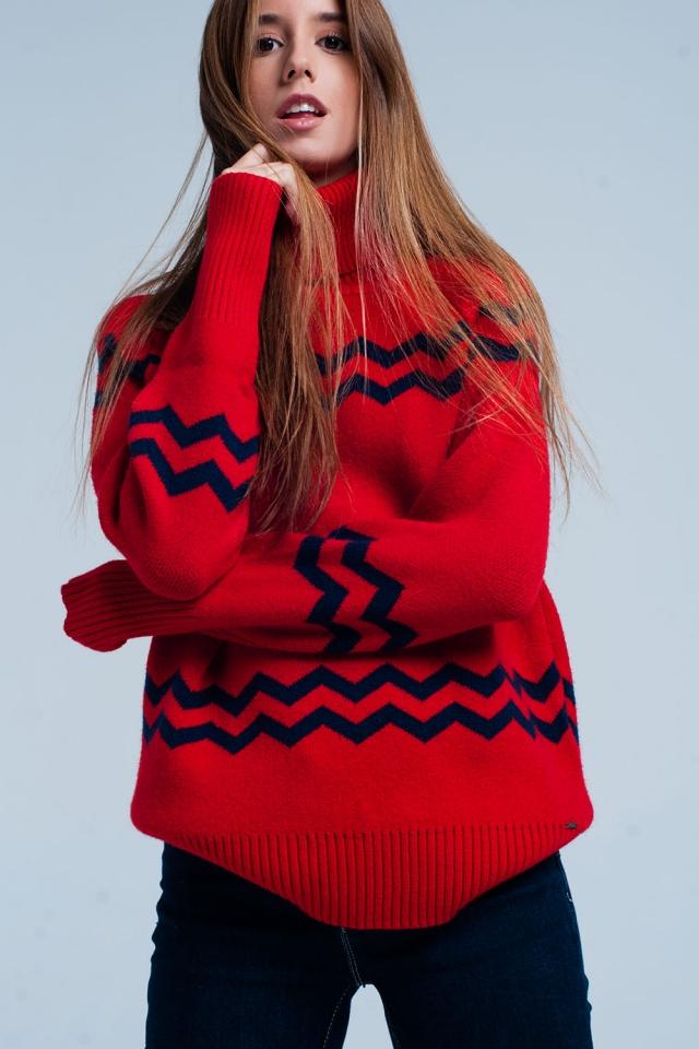 Suéter de cuello alto rojo en zigzag