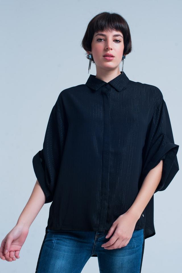 Camisa negra oversize con detalles de lurex