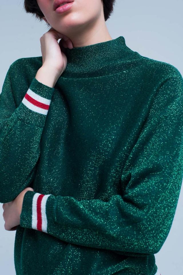 Suéter de color verde con brillo y cuello alto