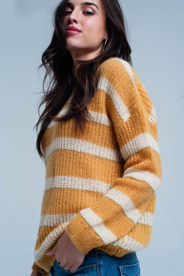 Suéter de mohair rayado amarillo de lurex