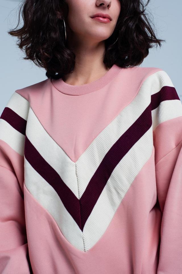 Sudadera rosa con estampado de rayas en V