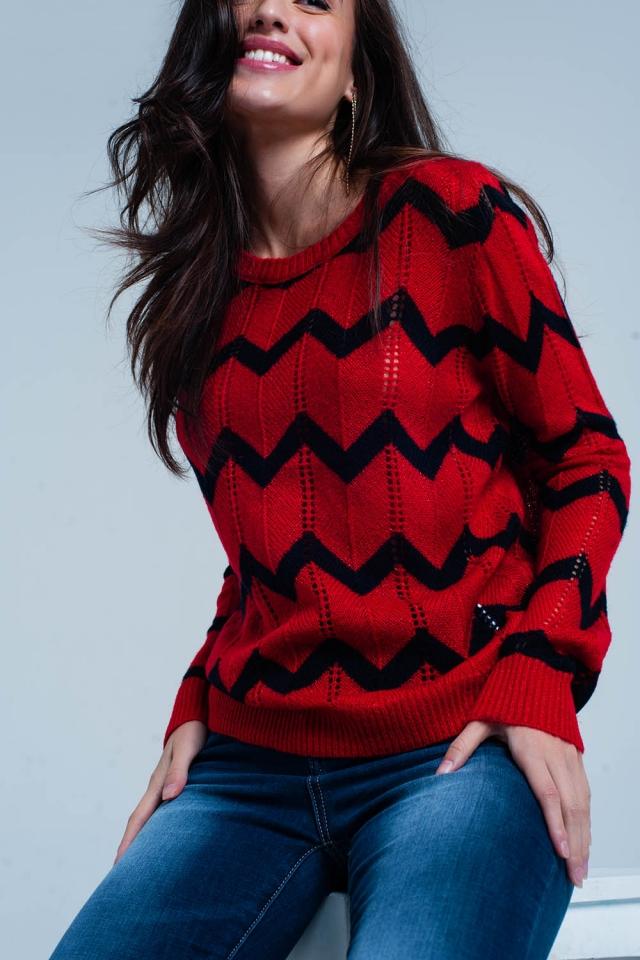 Suéter de punto grueso rojo con purpurina con estampado zigzag