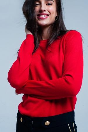 Suéter de lana roja con detalle texturizado