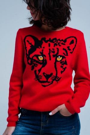 Suéter de punto rojo con leopardo