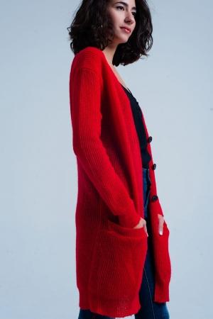 Cárdigan rojo largo con botones y bolsillos