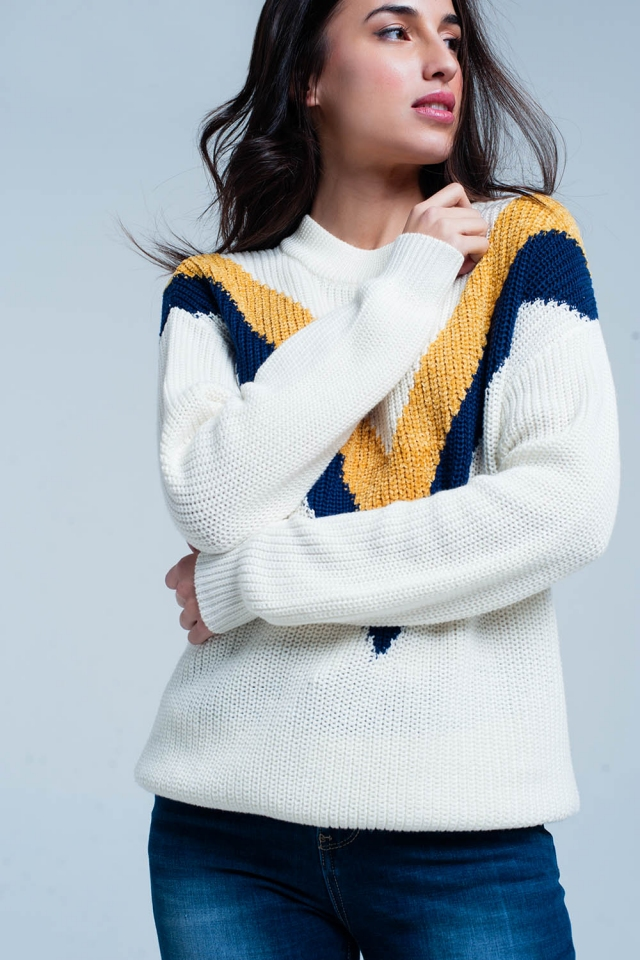 White Sweater with V Shaped Stripes