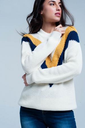 Suéter blanco con rayas en forma de V