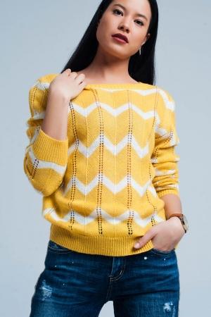 Suéter amarillo brillante con estampado zigzag