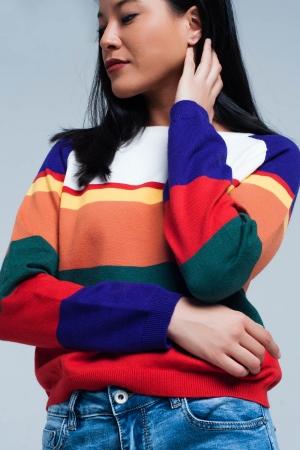 Suéter rayado multicolor rojo