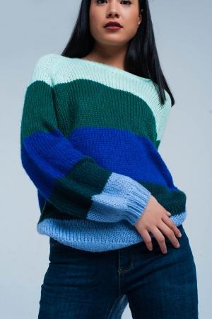 Suéter extragrande a rayas verdes