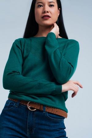 Suéter de lana verde con detalle texturizado