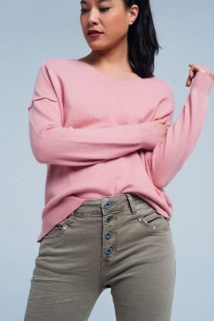 Suéter Rosa con cuello de pico de angora
