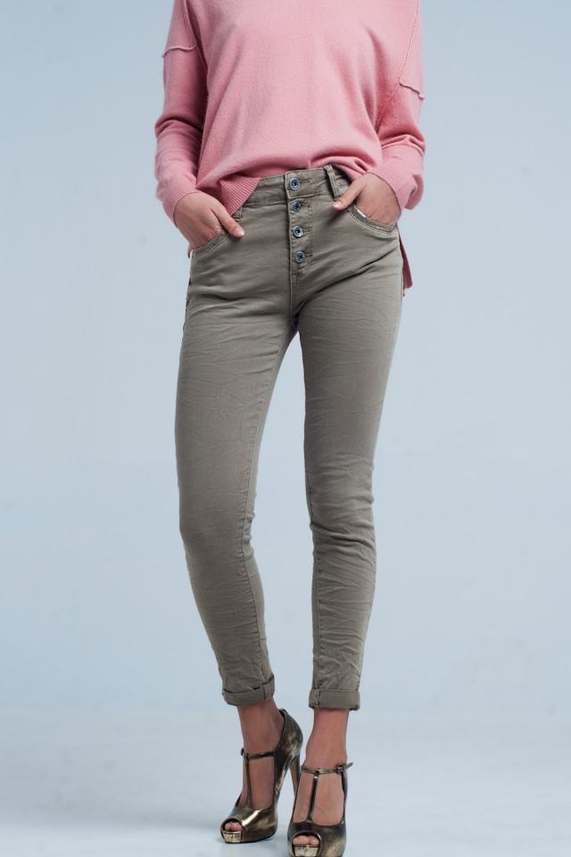 Boyfriend Jeans en color Caqui con lentejuelas