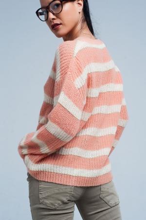 Suéter de mohair rayado Rosa de lurex