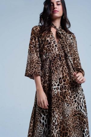 Maxi vestido marrón con motivos leopardo